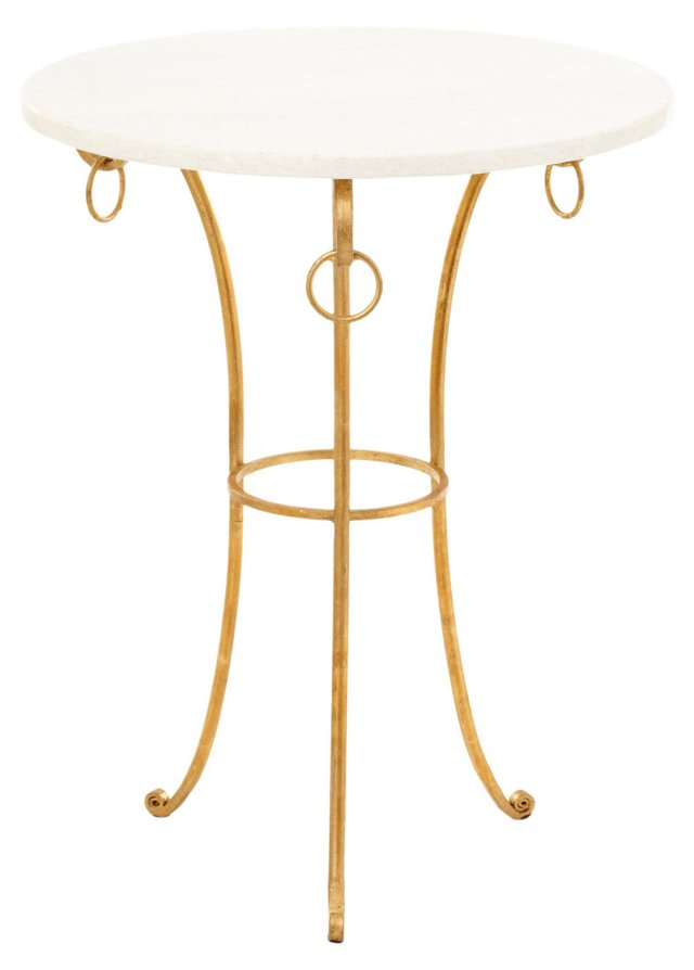 Mabry Side Table, White/Gold