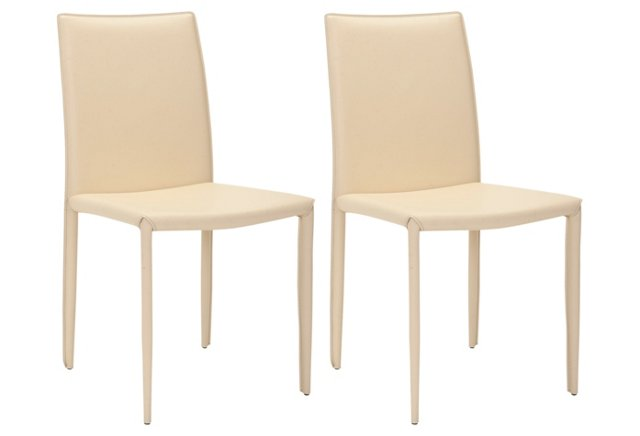 Cream Leather Caldwell Side Chairs, Pair