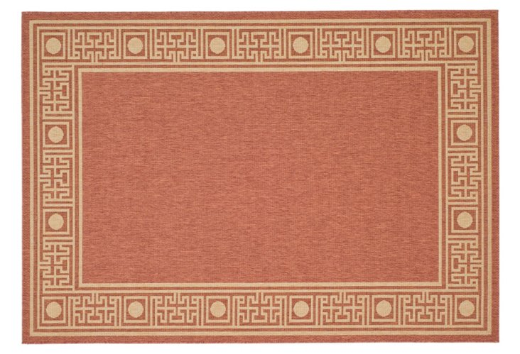 """2'7""""x5' Oliver Outdoor Rug, Rust/Sand"""