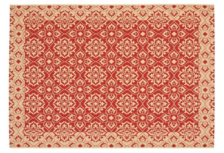 Nash Outdoor Rug, Red/Cream