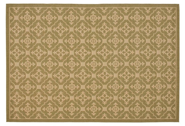 Seth Outdoor Rug, Green/Cream