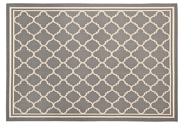 Bess Outdoor Rug, Gray/Beige