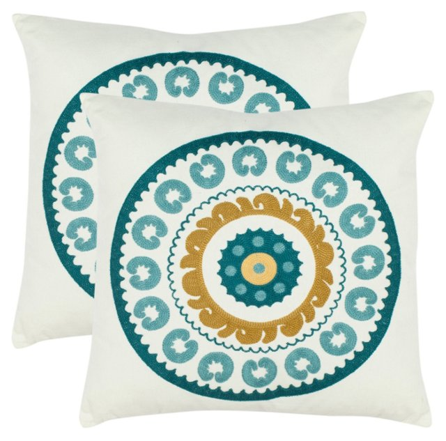 S/2 Sunder 18x18 Pillows, Turquoise