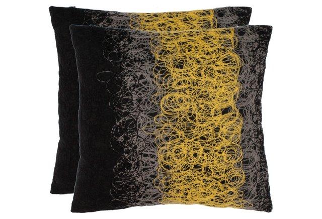 S/2 Dubois 18x18 Pillows, Yellow