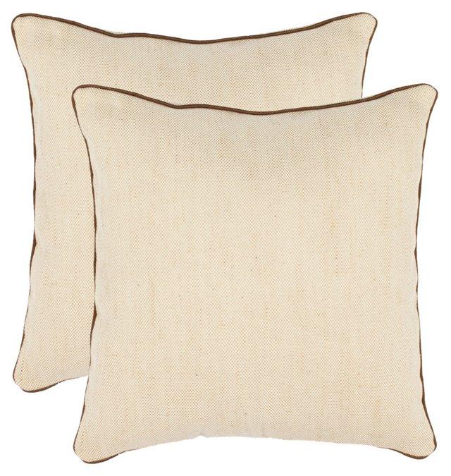 S/2 Milo 18x18 Cotton Pillows, Wheat