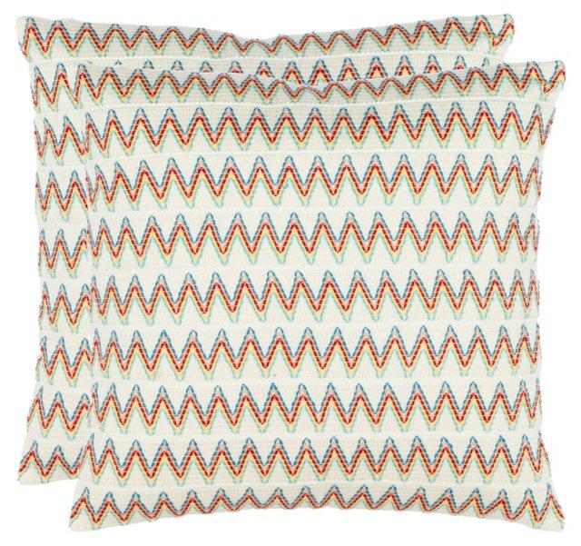 S/2 Nicole 18x18 Pillows, Multi