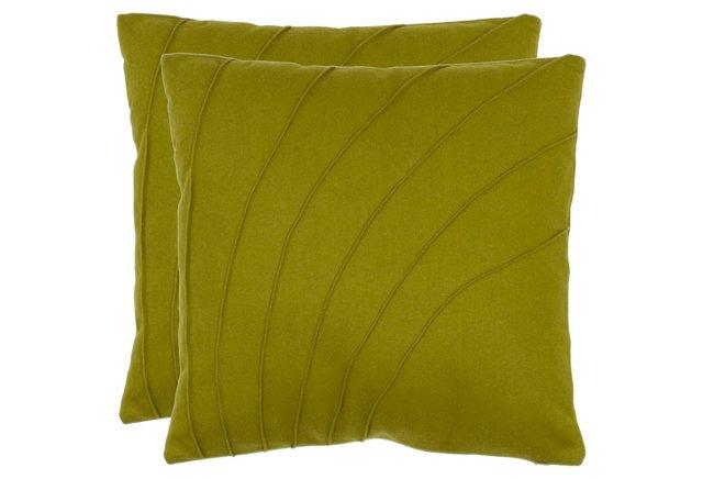 S/2 Elin 18x18 Pillows, Green