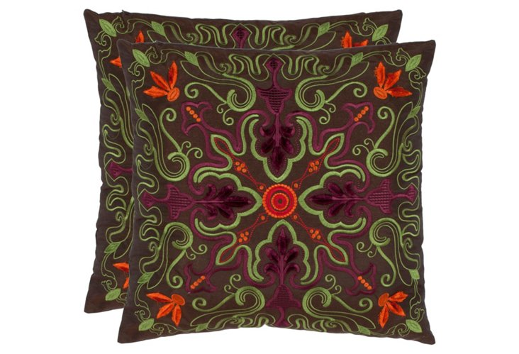 S/2 Ariel 18x18 Pillows, Brown
