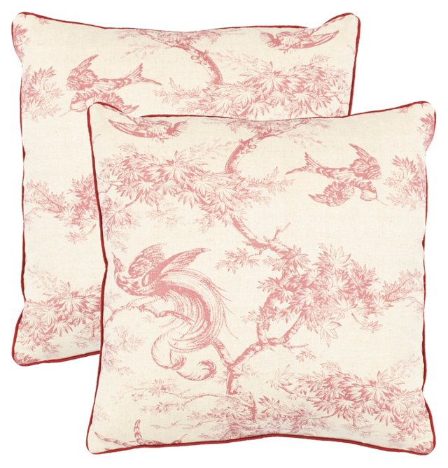 S/2 Leia 18x18 Cotton Pillows, Raspberry