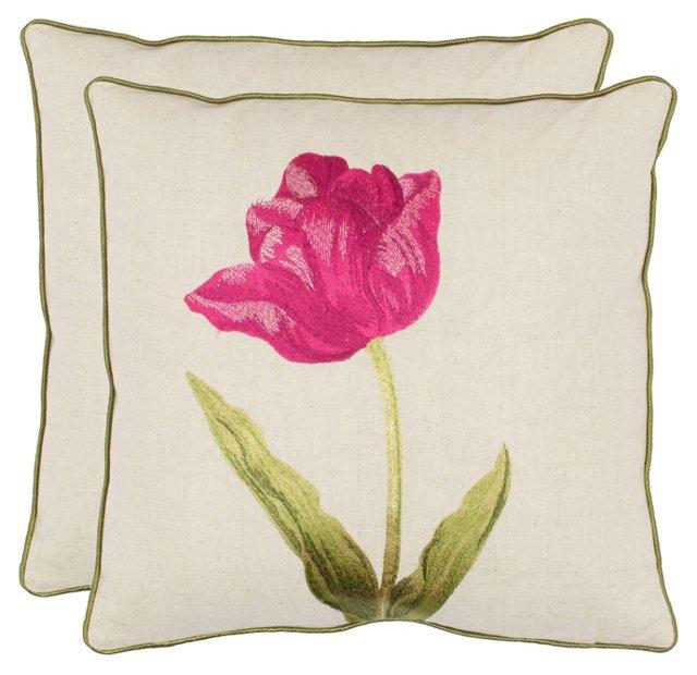 S/2 Meadow 18x18 Pillows, Fuchsia