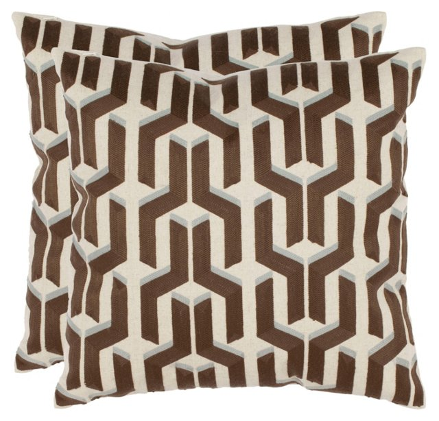 S/2 Texola 18x18 Pillows, Brown