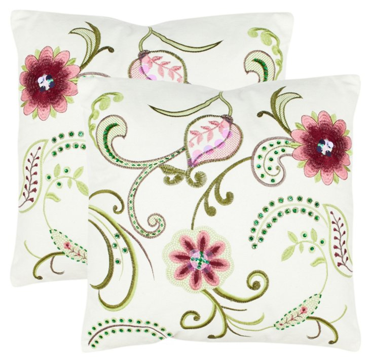 S/2 Bella 18x18 Pillows, Rose