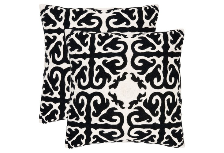 S/2 Cairo 22x22 Cotton Pillows, Black