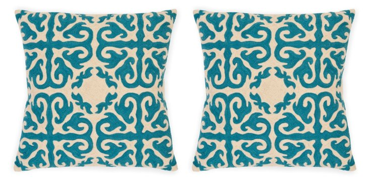 S/2 Moroccan 22x22 Cotton Pillows, Teal