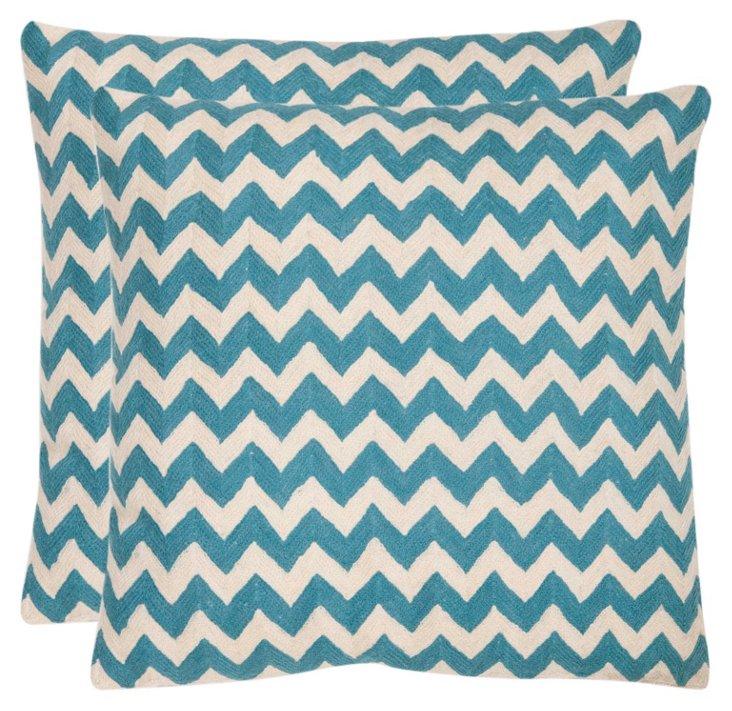 S/2 Tealea 22x22 Cotton Pillows, Teal