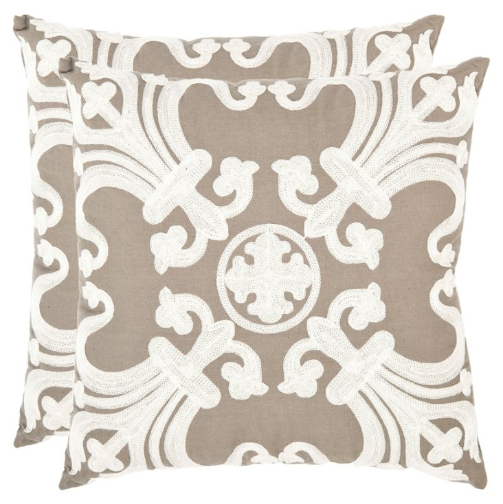 S/2 Collette 18x18 Pillows, Natural