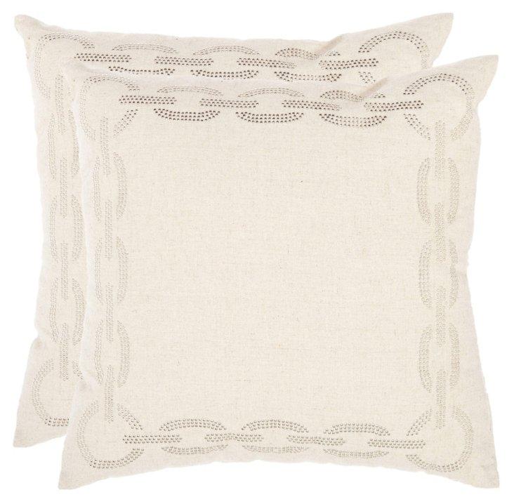 S/2 Sonja Cotton Pillows, Cement