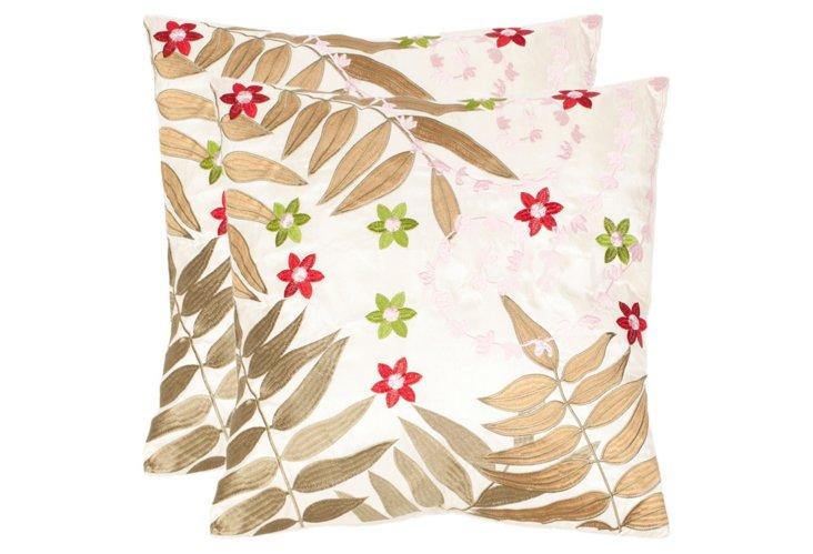 S/2 Floral 18x18 Pillows, Multi