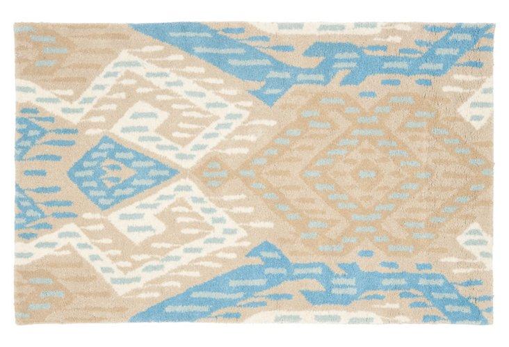 8'x10' Wyndham Rug, Blue/Tan