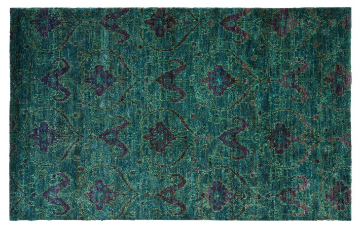 5'x8' Thom Filicia Hemp Rug, Teal/Blue