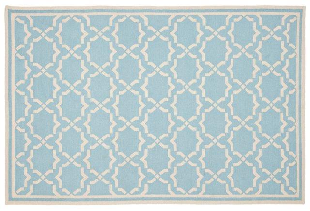Geneva Dhurrie, Light Blue/Ivory