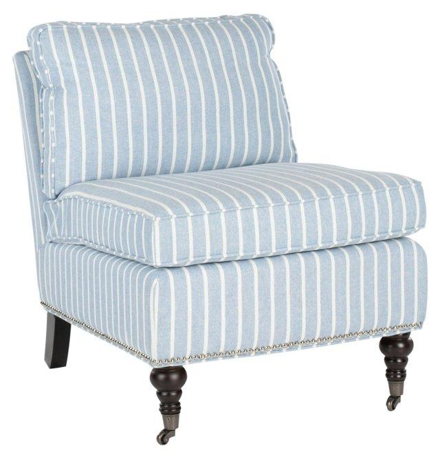 Davis Armless Club Chair, Blue/White