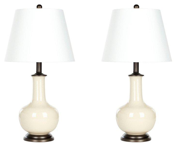 Sydney Table Lamp Set, Cream