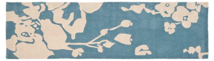 2'x8' Maggie Runner, Blue/Ivory