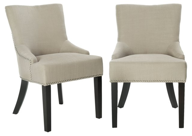Greige Locke Side Chairs, Pair