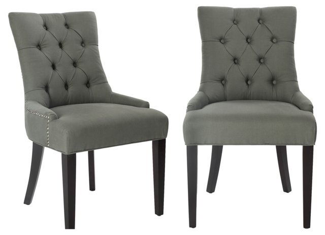 Gray Cameron Side Chairs, Pair