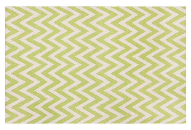5'x8' Senele Dhurrie, Lime/Ivory