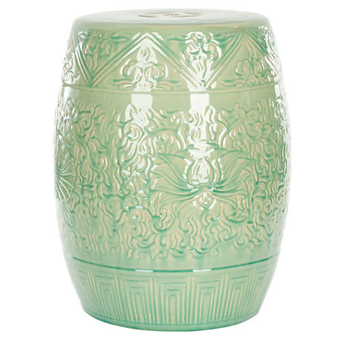 Rowan Garden Stool, Light Green