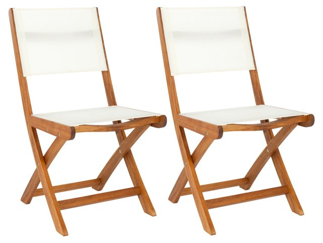Paige Folding Side Chairs, Pair