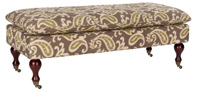 Clara Pillowtop Bench, Taupe/Sage