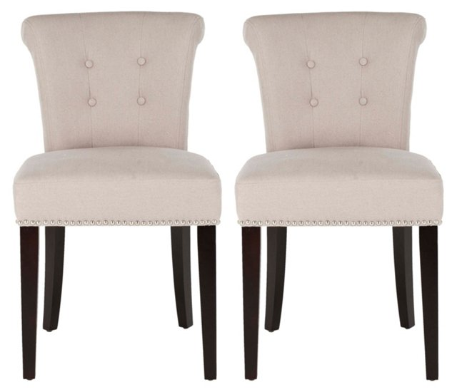 Taupe Langton Ring Chairs, Pair