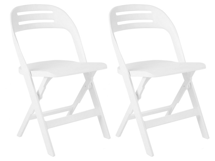 Marley Folding Chairs, Set of 4, White