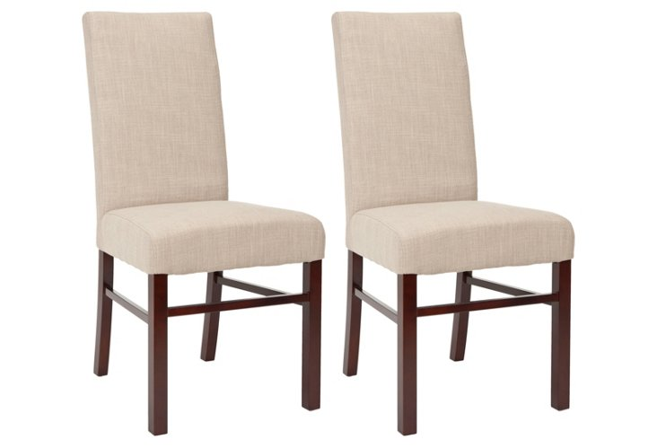 Beige Lucas Side Chairs, Pair