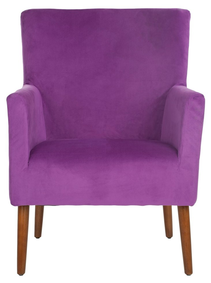 Coraline Velvet Armchair, Purple