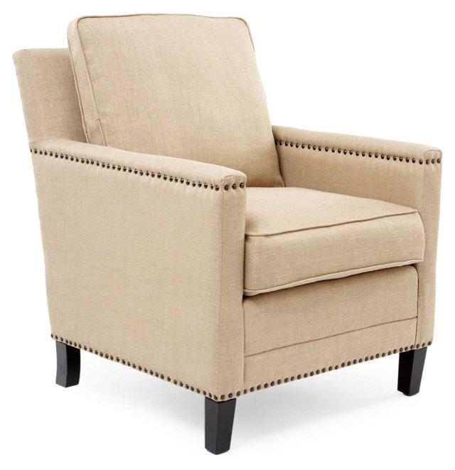 Jonah Nailhead Club Chair, Jute