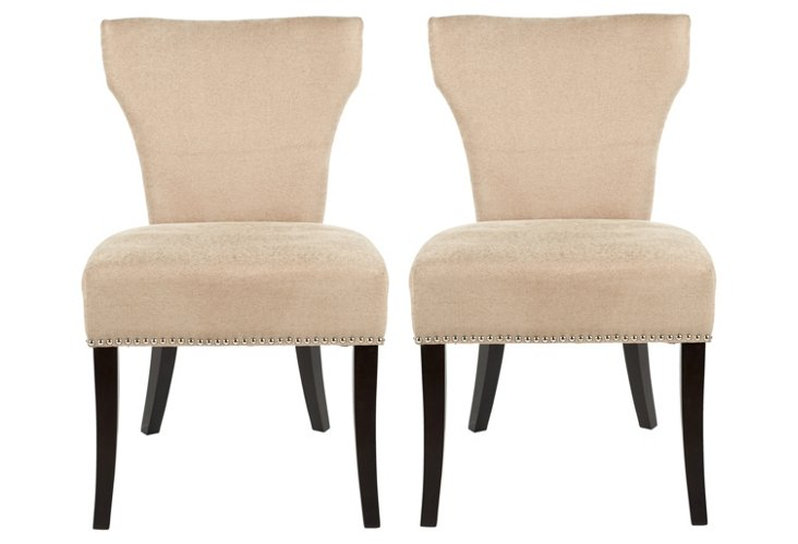 Beige Ali Dining Chairs, Pair