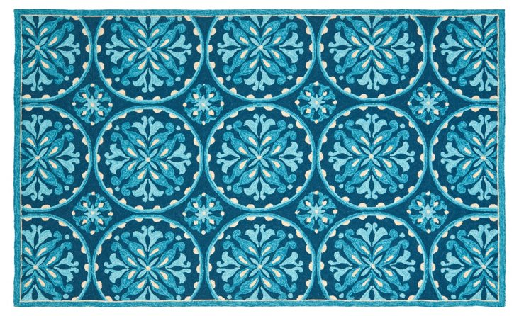 "3'6""x5'6"" Penelope Outdoor Rug, Blue"