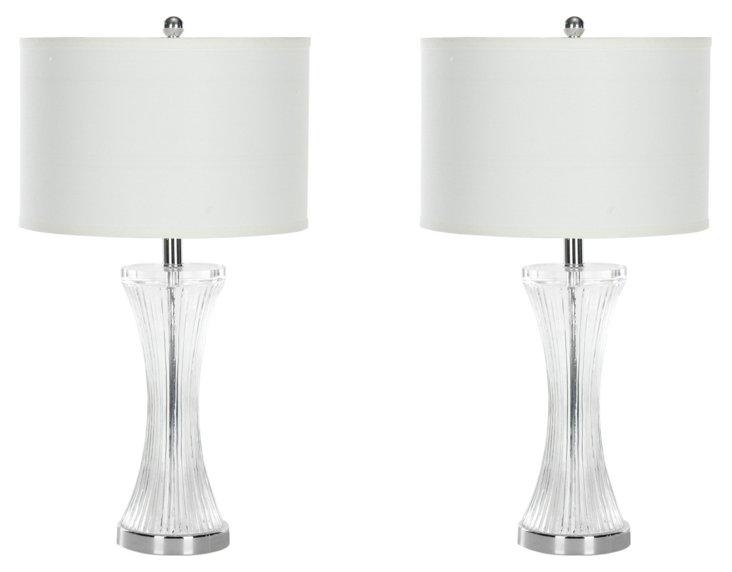 Mason Table Lamp Set, Clear Glass