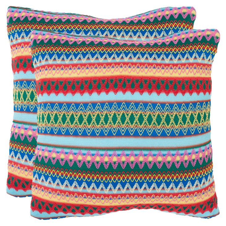 Set of 2 Sterling 18x18 Pillows, Multi