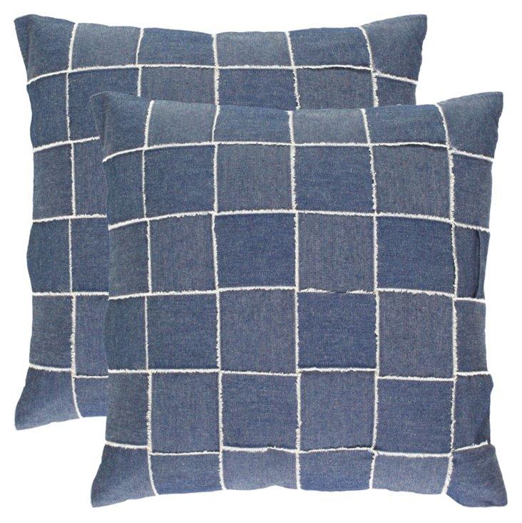 S/2 Pacific 18x18 Cotton Pillows, Blue