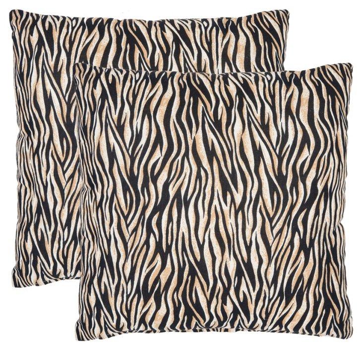 S/2 Mini Zebra Pillows, Black