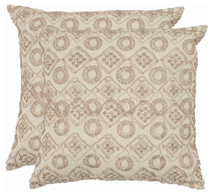 S/2 Hanna 22x22 Pillows, Stone