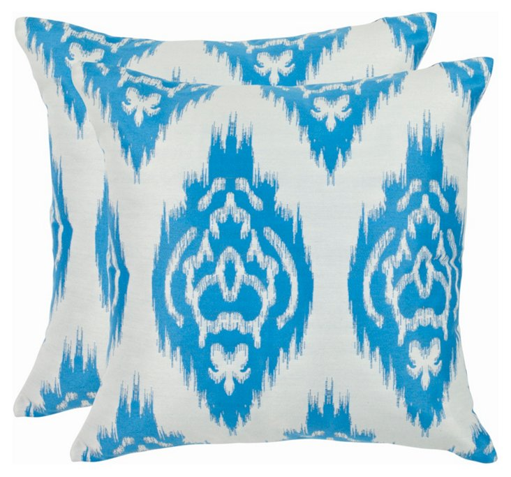 S/2 Ida 22x22 Pillows, Cornflower