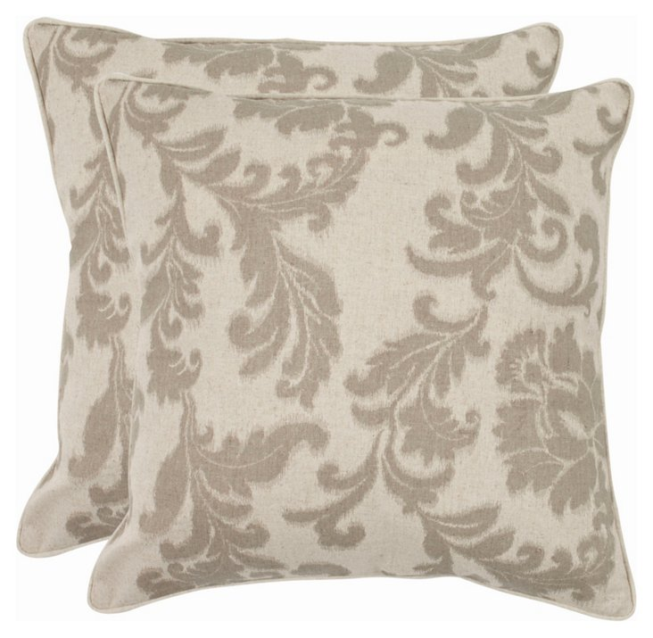 S/2 Helena 18x18 Pillows, Gray