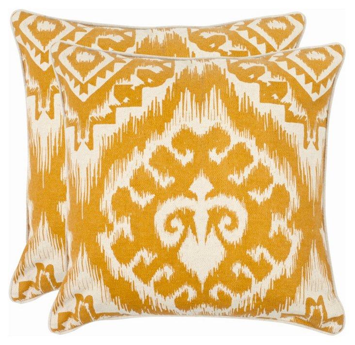 22x22 Saffron Tyra Pillows, Pair