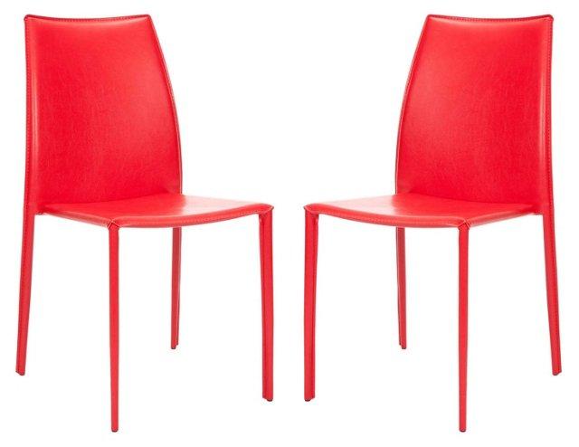 Red Korbin Chairs, Pair